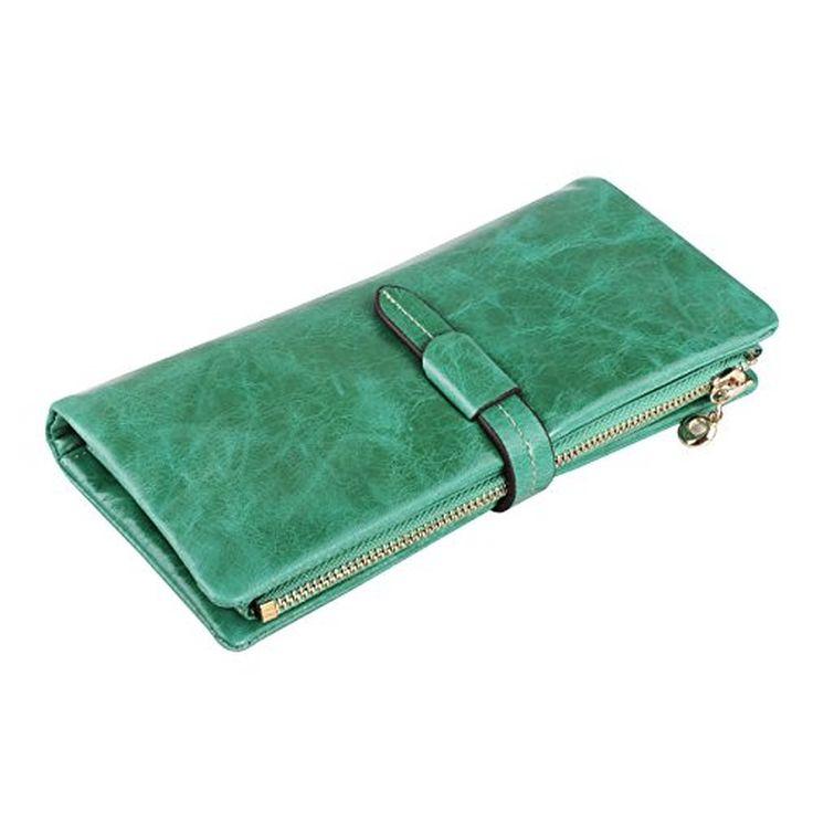 Itslife Women's Oil Leather Long Clutch Wallet Zipper Pocket