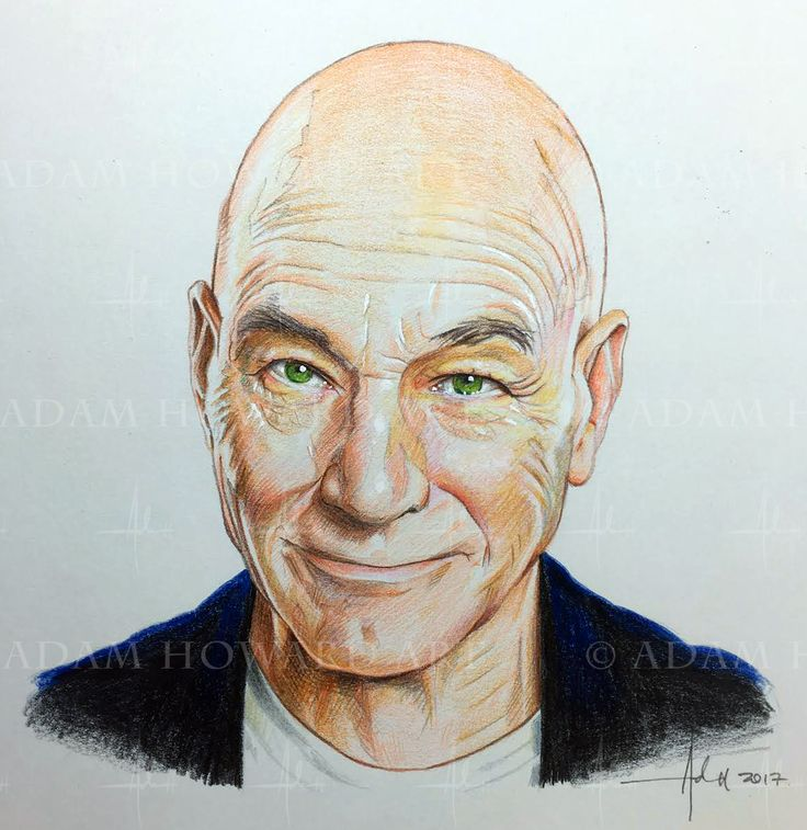"SIR PATRICK STEWART   Illustration © Adam Howard 2017 Medium is Color Pencil and acrylic paint on acid free Strathmore Drawing paper. Dimensions are 7"" wide by 7"" high  #adamhowardart #sirpatrickstewart #patrickstewart #startrek #startrekthenextgeneration #sttng #llap #actionfilm #popcorn #blockbuster #scifi #actor #theatre #shakespeare #theater #movies #hollywood #adamhoward #illustration #portraits @sirpatstew"