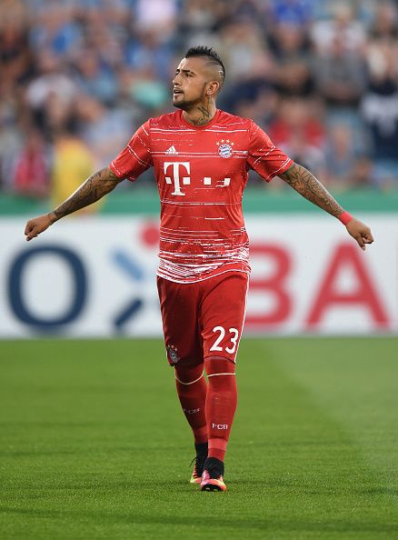 Bayern Munich's Chilean midfielder Arturo Vidal warms up prior to the German Cup first round football match between the German first division...