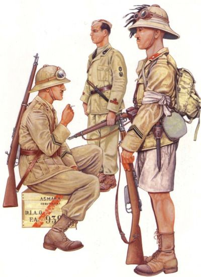 """Italian Forces, Invasion of Ethiopia Infantry Corporal, 60th Calabria Regiment, Slla Division """" This soldier is typical of the infantryman on colonial service. The popular sand-goggles and a Mannlicher Carcano Model 91 Fanteria rifle complete his..."""