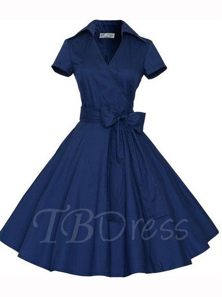 Tbdress.com offers high quality Plain Lace up Short Sleeve Women's Vintage Dress Day Dresses unit price of $ 24.99.
