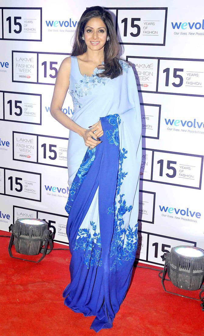Sridevi on Day 1 of the Lakme Fashion Week 2015. #Bollywood #Fashion #Style #Beauty #LFW15