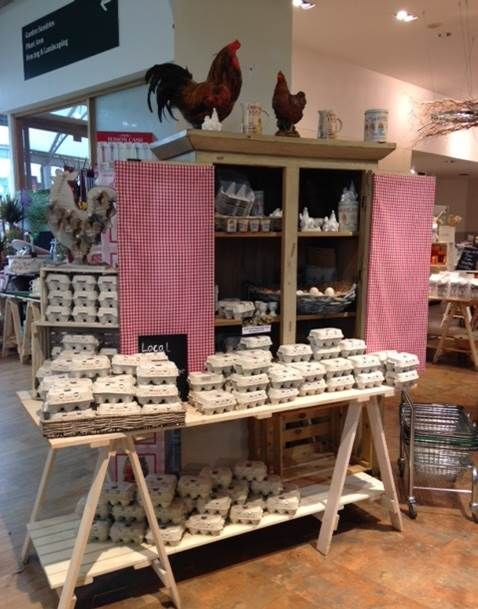 Love the farmyard kitchen feel of the eggs display