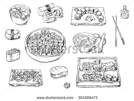Sketches of food: sushi - stock vector