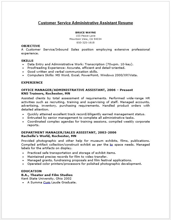 Customer Service Administrative Assistant Resume Resume   Job - sales assistant resume
