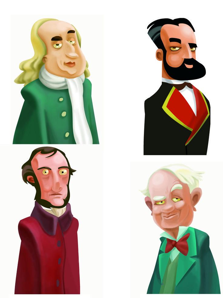 Ilustración publicitaria de grandes genios de la historia