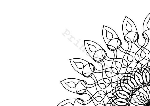 Line Art Curly Mandala Adult Colouring Page Digital Download ...