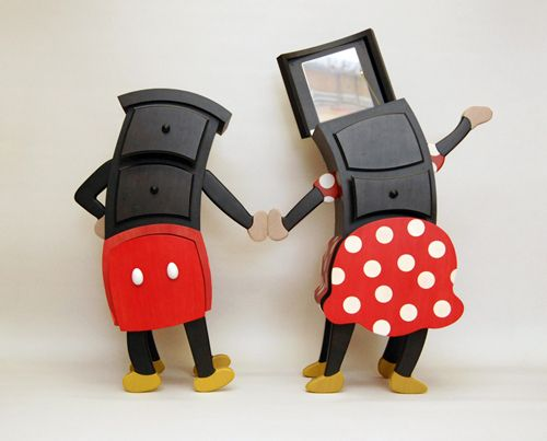 mickey and minnie have opened their tummies for your storage needs