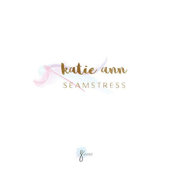 Seamstress Logo,Sewing Logo,Needle logo,Watercolor,Tailor logo,Sewing Machine,designer logo, Gold foil logo, Hand drawnlogo,stitches logo