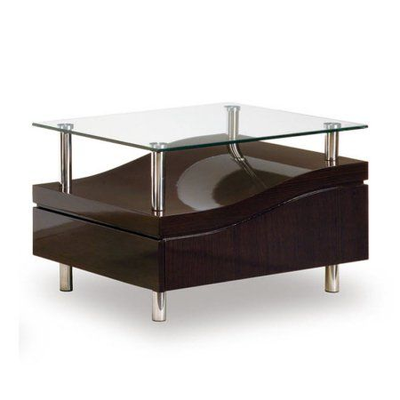 Global Furniture Mahogany Coffee Table with Cappuccino Cushions, Silver