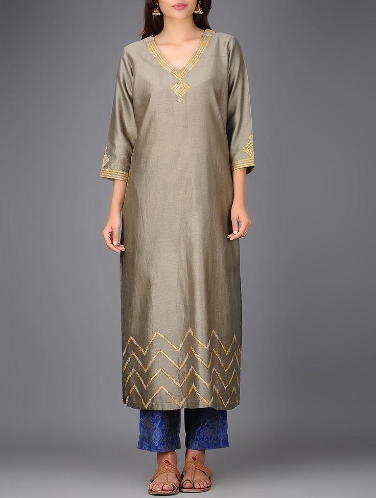 Buy Grey V neck Chanderi Kurta with Gota Work Lining: Cotton Voile Women Kurtas Vaibhavi dupattas and khari printed pants Online at Jaypore.com