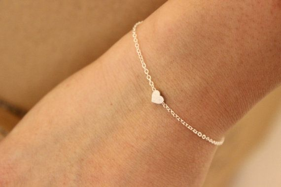 tiny silver heart bracelet gold dainty by GreatJewelry4All on Etsy