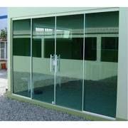Porta Blindex 2,10 X 1,80 De Correr Vitron 8mm Verde / Fume