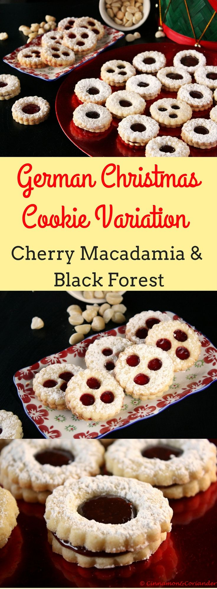 Spitzbuben Traditional German Christmas Cookies with Black Forest Filling or Macadamia Cherry Filling