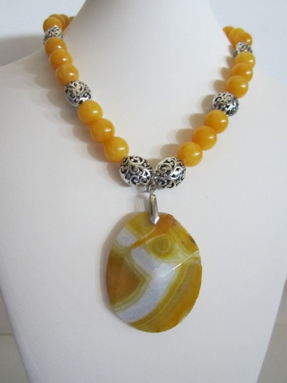 Yellow Statement Necklace with Calcite and Agate by yasmi65, $45.00