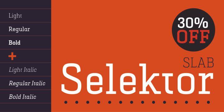 Selektor Slab (30% off, from $17.50) - http://fontsdiscounts.com/selektor-slab-new/