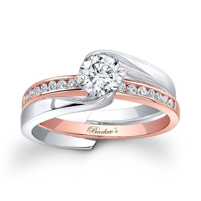 White & Rose Gold Bridal Set - 7916STW - Capture the moment with this stylish, versatile two tone rose and white gold diamond bridal set. The white gold diamond engagement ring features a channel set round diamond center with an interlocking shank.  Also available in two tone, 18K and Platinum.