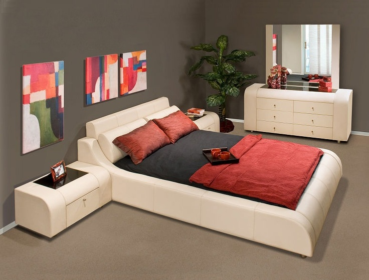 Contemporary 5-Piece Leather Bedroom Set w Optional Bed Sizes – Prima | Buy Bedroom Furniture Online