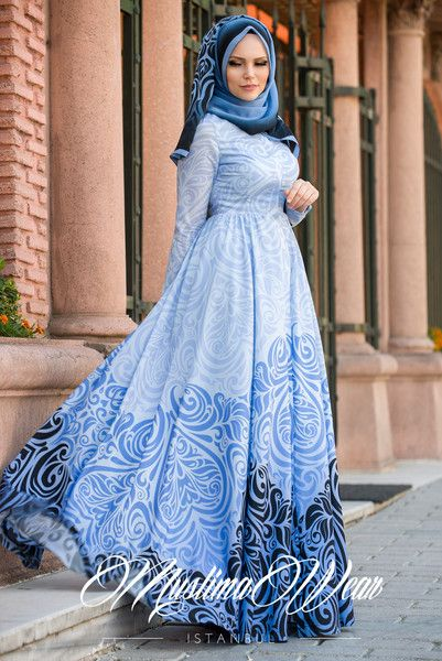 Muslima Wear Blue Pearl Casual Dress – Muslima Wear Design and Styling