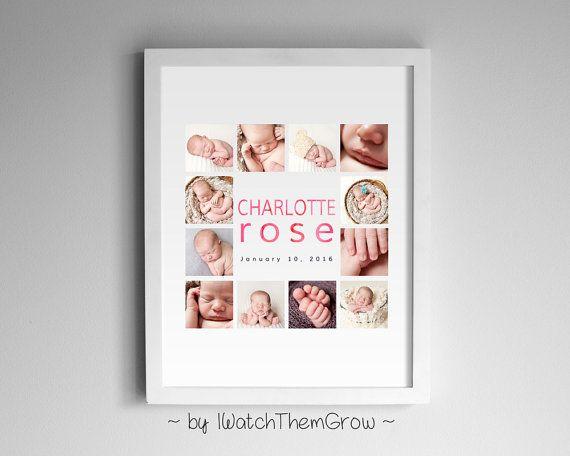 Custom Baby Photo Collage Modern Watercolour Print, Personalized Printable Nursery, Pink Blue Black, 8x10 or 11x14 DIGITAL FILE