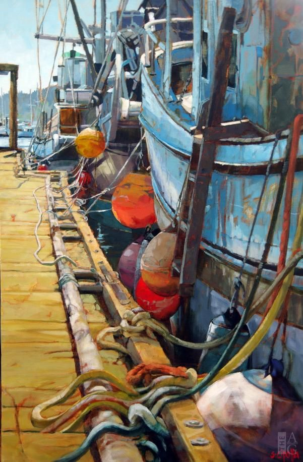 Seascape painting, West Coast Fishing Boats, by Susie Cipolla at The Avenue Gallery, a contemporary fine art gallery in Victoria, British Columbia, Canada.