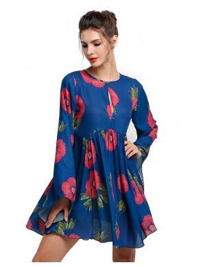 Mavi Etnik Stil Kadın Uzun Flare Sleeve Çiçekli Baskı Mini Çıkıyor Casual Elbiseler