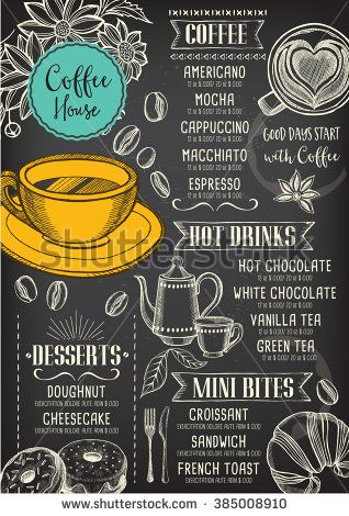 Coffee restaurant brochure vector, coffee shop menu design. Vector cafe template with hand-drawn graphic. Coffee flyer. - stock vector