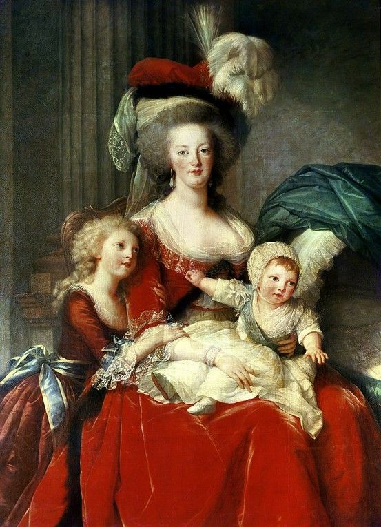 Marie Antoinette, Queen of France (b.1755-d.16 October 1793 by guillotine, age 37) and two of her children (detail) by Louise Élisabeth Vigée-Lebrun - the Queen's daughter Marie Thérèse Charlotte of France, was the only member of the family to survive the French Revolution.
