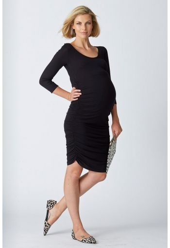 Bailey Gather Dress - Black - Blossom & Glow, $94.00, is crafted in our premium luxe jersey and combines the ease of a basic top with the simple lines of a body-con dress. Boasting extensive side rouching to flatter your curves, it's going to provide you with maximum comfort for any stage of pregnancy. With it's simple scoop neckline and a 3/4 'all-season' sleeve, Bailey is a hero piece you'll wear casually with flats and a denim jacket, or layered with cardigans and boots.