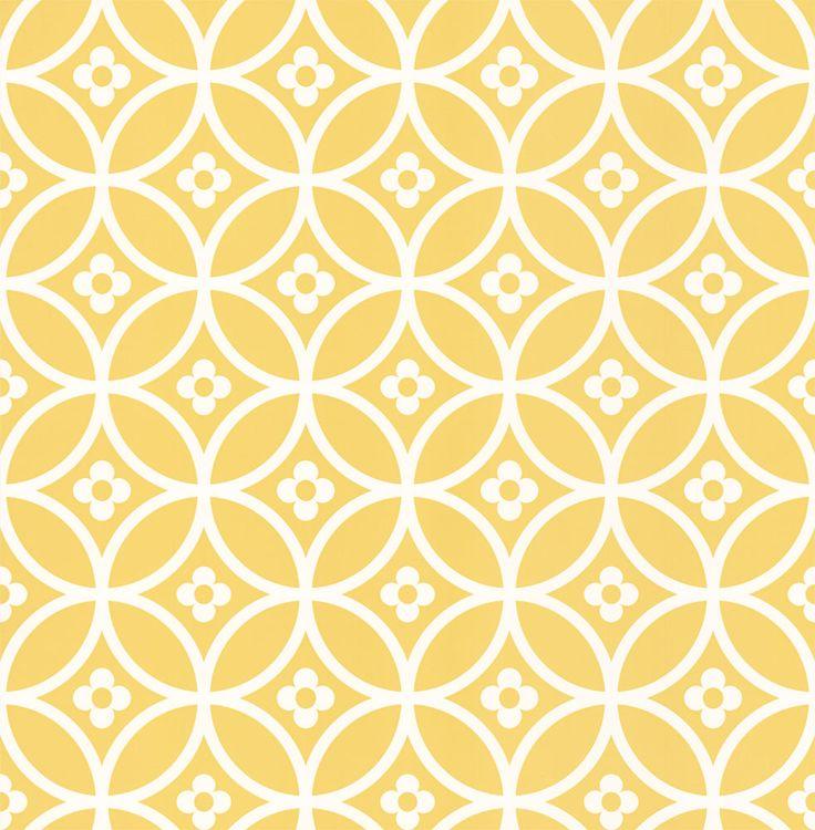 Daisy Chain Small  Yellow Mellow  geometric wallpaper by Layla Faye
