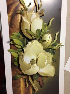 Cuadro con bellisimas magnolias!!!! Realizado en el Taller de Arte y Diseño, seminario de abril.