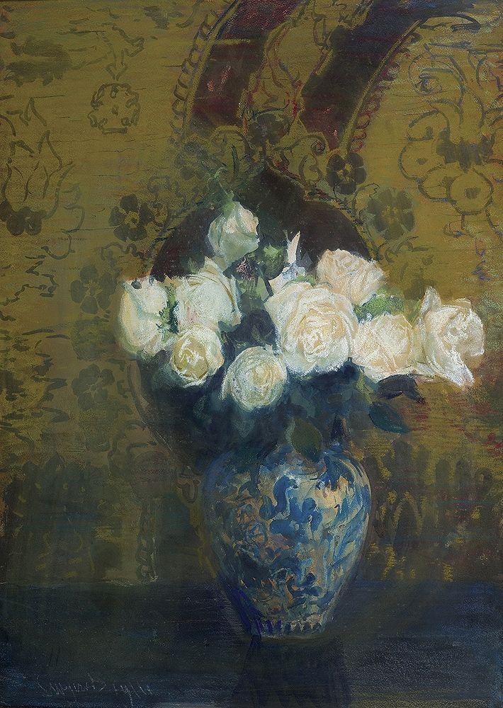 Leon Wyczółkowski | BIAŁE RÓŻE, 1911 | pastel, gwasz, akwarela, papier | 96 x 68.5 cm