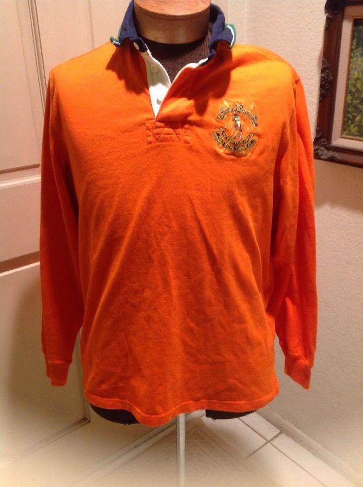 Polo Ralph Lauren Custom Fit Bleeker Equestrian #3 Orange Polo Shirt Mens Large #PoloRalphLauren #PoloRugby