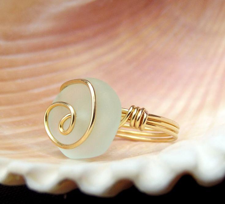 Light Aqua Sea Glass Ring  24K Gold Swirl by SherryKayDesigns, $24.00