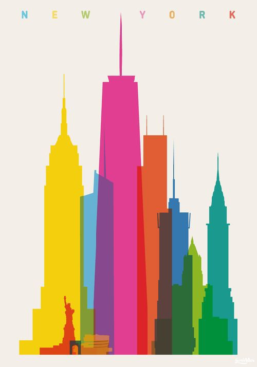 i like the colors used. I like the way you can see the overlap of the buildings. The way the artist made it noticeable that this is NYC through simple shapes is also impressive