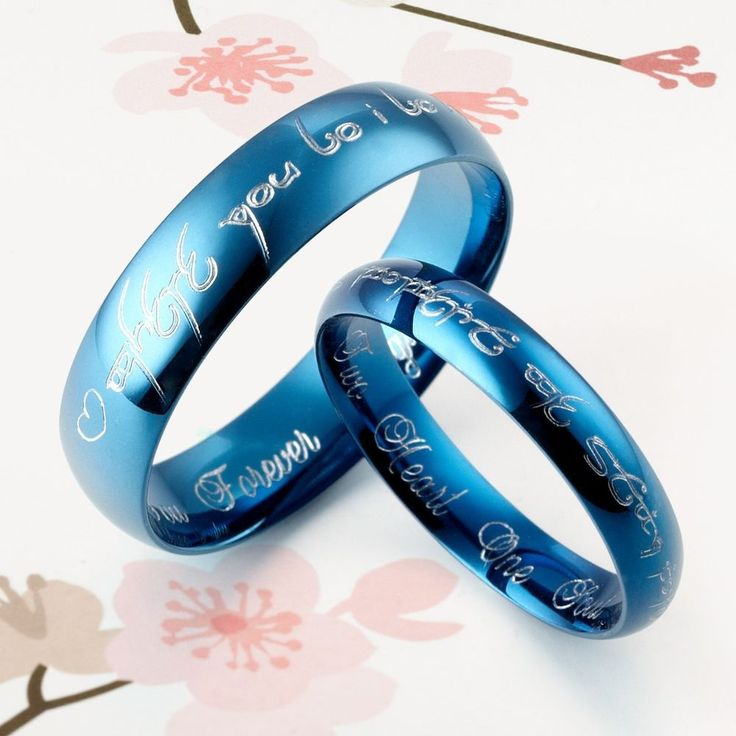 Handmade Blue Anywords His Matching Wedding Engagement Titanium Rings Set Court Shape