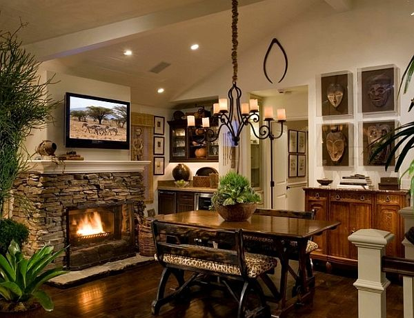 Rocked Just Up To The Mantle Dining Rooms   Mediterranean   Dining Room    Orange County   Interior Art Part 88