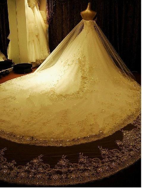 2013 Luxurious Cathedral White Ivory Wedding Dress Custom Size 4 6 8 10 12 14 16   eBay