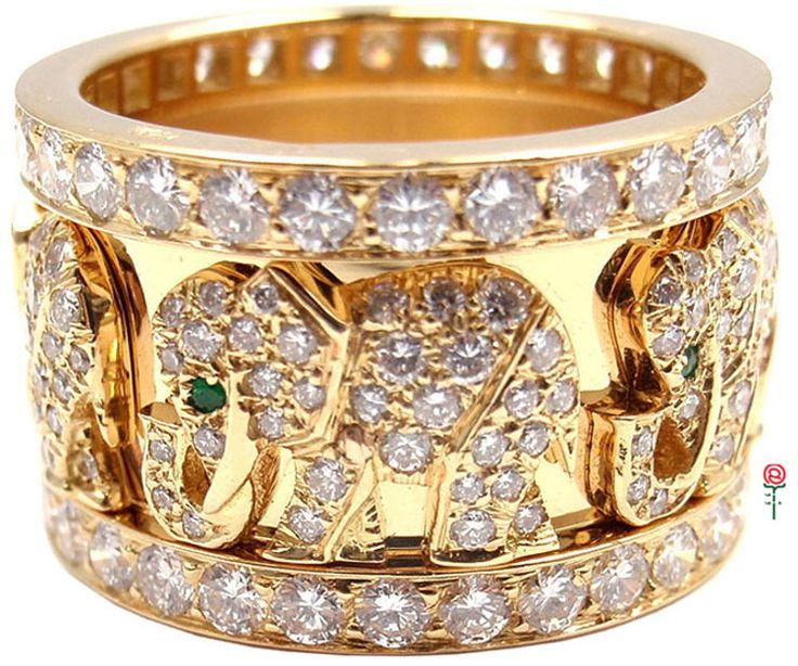 Emmy DE * Cartier Emerald Diamond Yellow Gold Elephant #Ring