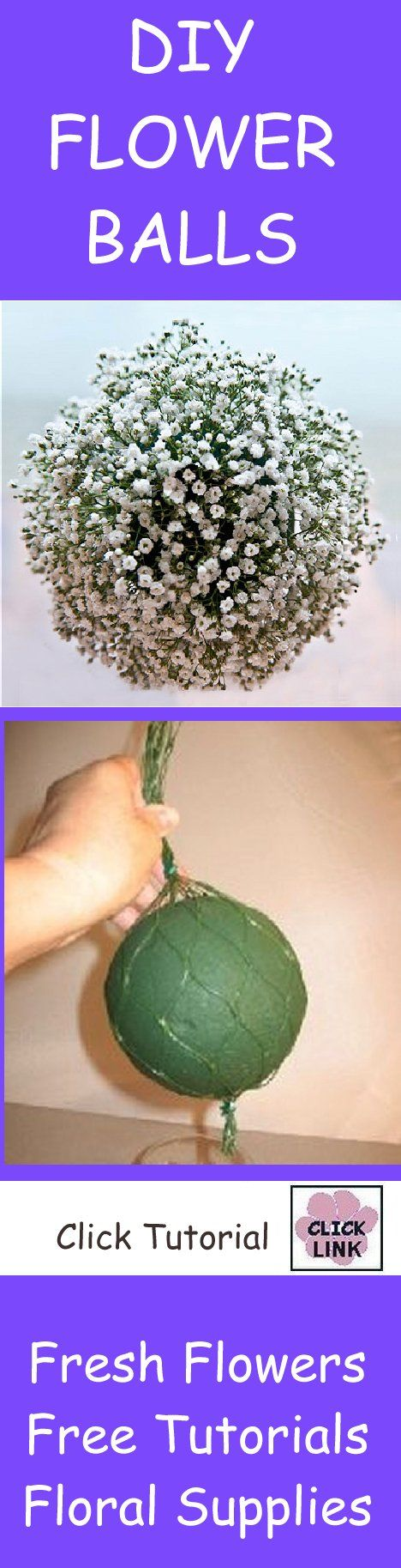 How to Make a Fresh Baby's Breath Flower Ball - Attendent pomanders, pew decorations or hanging balls at the ceremony are much easier with Oasis Netted Spheres. Great idea!