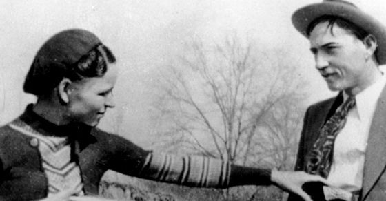 May 23, 1934: Bonnie and Clyde are shot to death by Texas and Louisiana police while driving a stolen care near Sailes, LA.