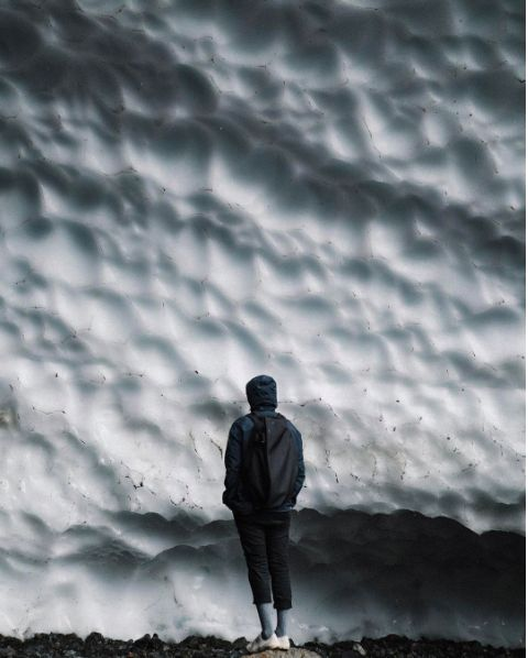 Alien architecture. The ergonomic simplicity of the Isar rucksack from côte&ciel sits against an otherworldly backdrop of sculptured ice at the Big Four Ice Caves in Washington State. Image courtesy of @icecole via Instagram