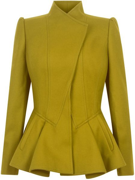 Peplum and mustard. Nice! (Wrenn Wool Peplum Jacket)