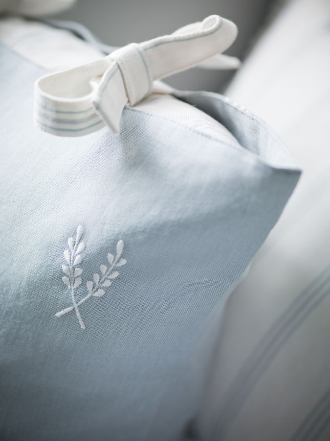 Blue and White Linens