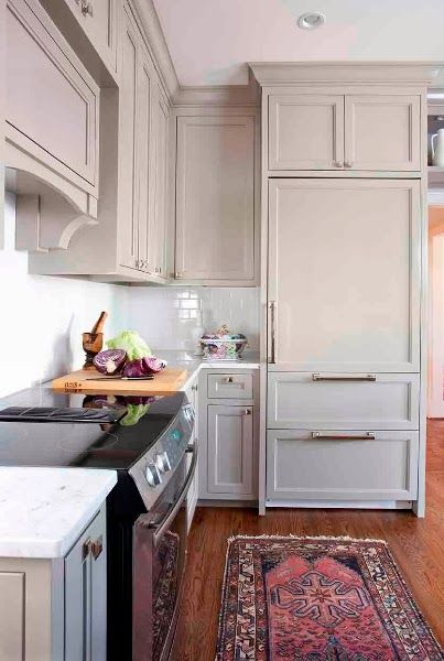 Cabinetry color, integrated refrigerator