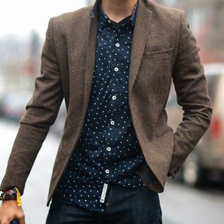 Men's Navy and White Polka Dot Longsleeve Shirt, Brown Wool Blazer, and Navy Jeans