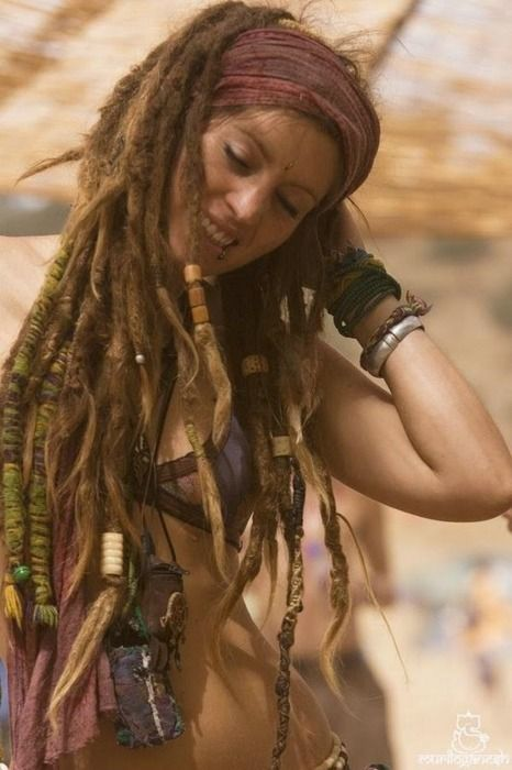 dreadlocks   #bohemian #boho #hippie #gypsy  #dreadlocks love her hair wrap!
