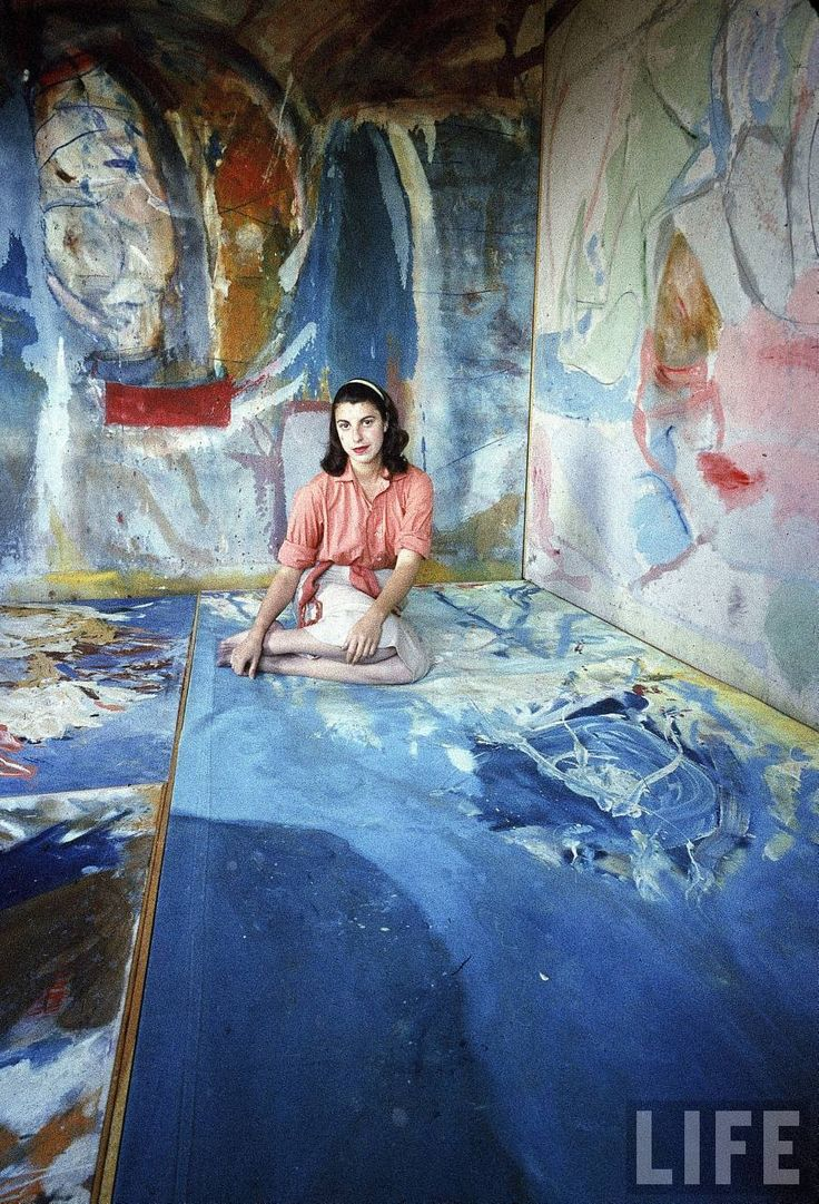 """Shot in 1956, American Abstract Expressionist painter Helen Frankenthaler (1928- 2011) in her studio, for """"LIFE"""" magazine. Photographed by Gordon Parks. via the Guardian"""