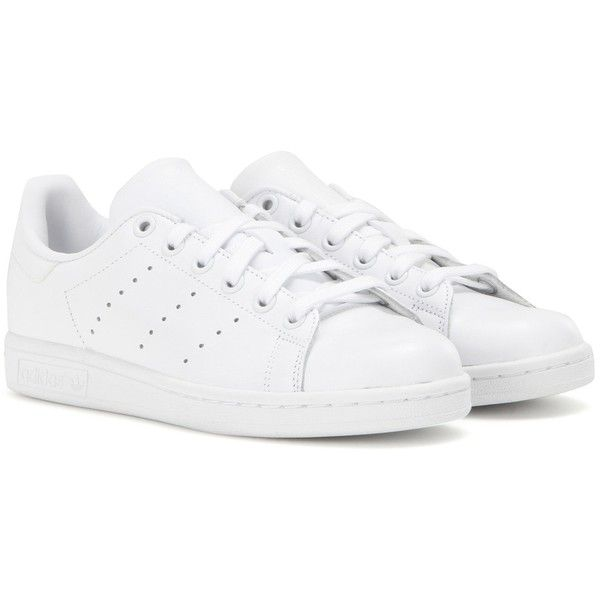 Adidas Originals Stan Smith Leather Sneakers found on Polyvore featuring shoes, sneakers, adidas, tênis, white, real leather shoes, adidas footwear, white leather sneakers, leather shoes and leather trainers