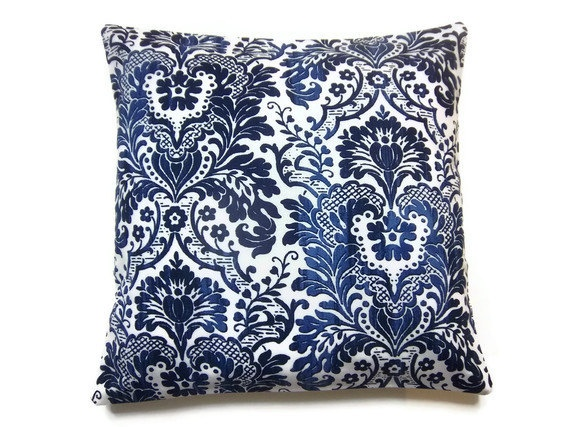 Two Navy Blue Sky Blue White Traditional Pillow Covers Decorative Toss Throw Accent Pillow Covers16 inch pair. $30.00, via Etsy.